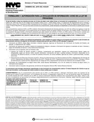 """Formulario 1 """"Autorizacion Para La Divulgacion De Informacion/Aviso De La Ley De Privacidad"""" - New York City (Spanish)"""