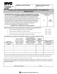 """Formulario 6 """"Declaracion De Gastos Medicos Y De Farmacia No Reembolsados"""" - New York City (Spanish)"""