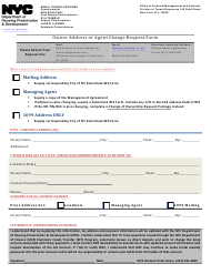 """Owner Address or Agent Change Request Form"" - New York City"