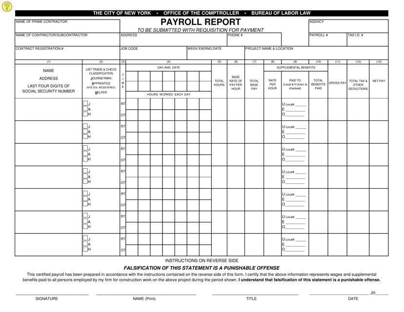 """Payroll Report Form"" - New York City Download Pdf"