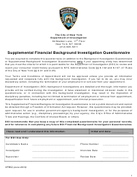 "Form SFBIQ ""Supplemental Financial Background Investigation Questionnaire"" - New York City"