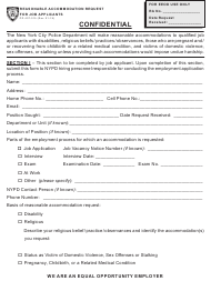 "Form PD407-015 ""Reasonable Accommodation Request for Job Applicants"" - New York City"