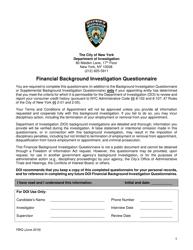 "Form FBIQ ""Financial Background Investigation Questionnaire"" - New York City"