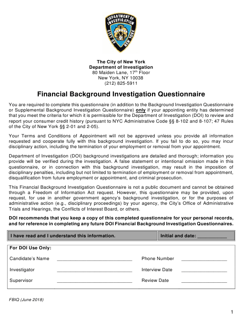 Form FBIQ  Printable Pdf