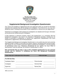 """Supplemental Background Investigation Questionnaire"" - New York City"