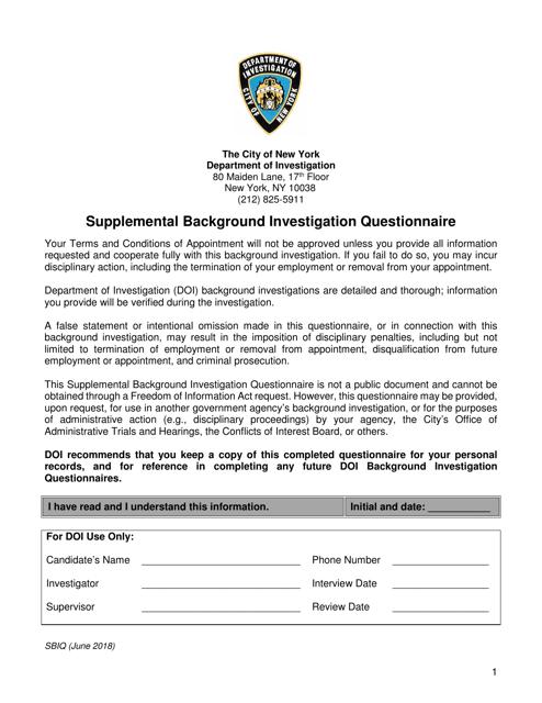 """Supplemental Background Investigation Questionnaire"" - New York City Download Pdf"