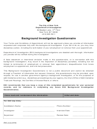 """""""Background Investigation Questionnaire"""" - New York City"""