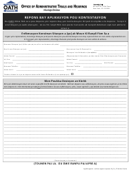 """Form APP18 """"Response to Appeal Application"""" - New York City (Haitian Creole)"""