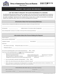 "Form GN6 ""Request for Audio Recordings"" - New York City"