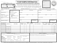 Form AD-4 Plant Sample Information - North Carolina