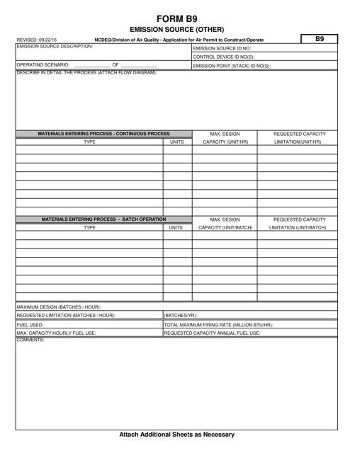 Form B9  Printable Pdf
