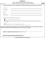Form E 5 Application for Air Permit to Construct/Operate - Title V Compliance Certification - North Carolina