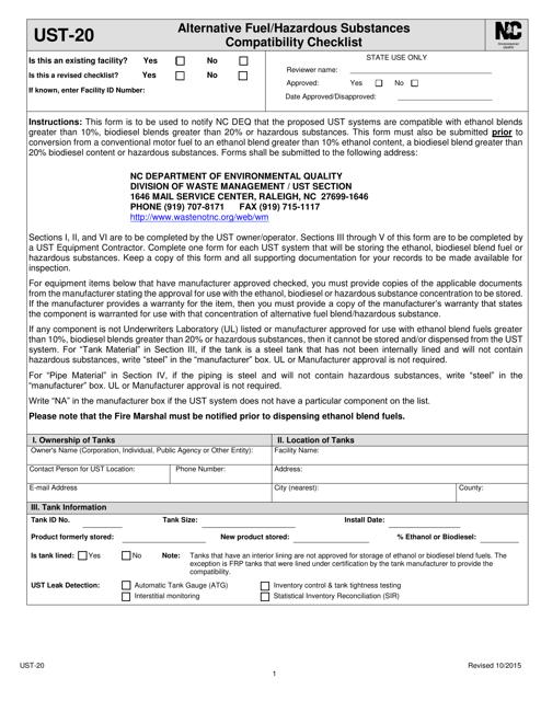 Form UST-20 Download Fillable PDF, Alternative Fuel