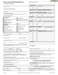 "Form GW-1 ""Well Construction Record"" - North Carolina"