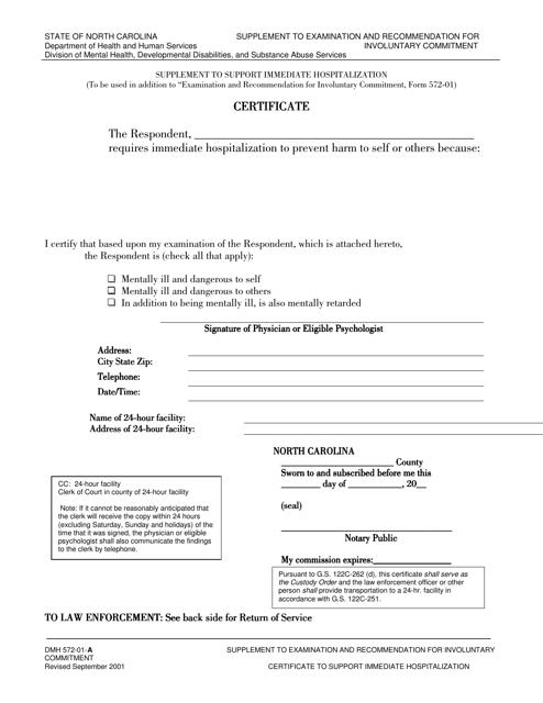 emergency certificate form pdf carolina north fill templateroller template