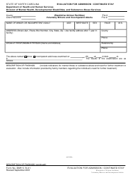 """Form DMH5-73-01 """"Evaluation for Admission/Continued Stay"""" - North Carolina"""