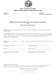 """""""IRS Disclosure Awareness Acknowledgement Statement for Third-Party Providers"""" - North Carolina"""