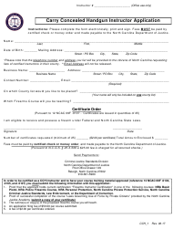 Form CCH-1 Carry Concealed Handgun Instructor Application - North Carolina