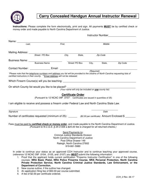 Form CCH-2  Printable Pdf