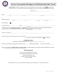 Form CCH-3 Carry Concealed Handgun Certificate Reorder Form - North Carolina