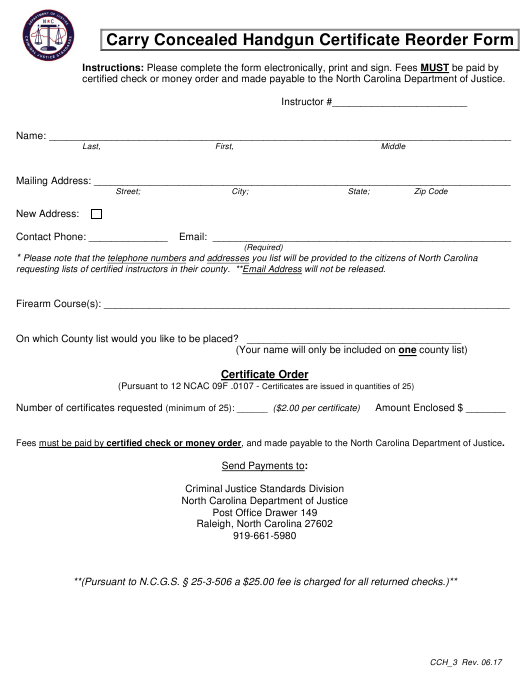 Form CCH-3 Printable Pdf