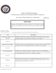 Form F-4 Qualifications Appraisal Interview - North Carolina
