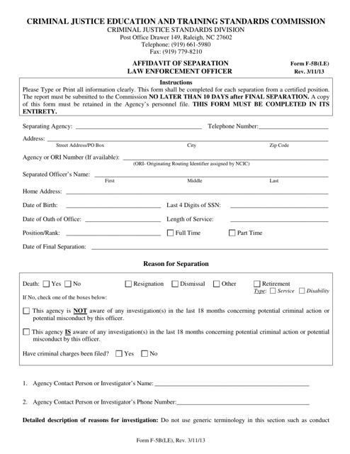 Form F-5B(LE)  Printable Pdf