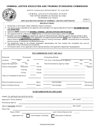 Form F-7 Application for Award of Criminal Justice Certificate - North Carolina