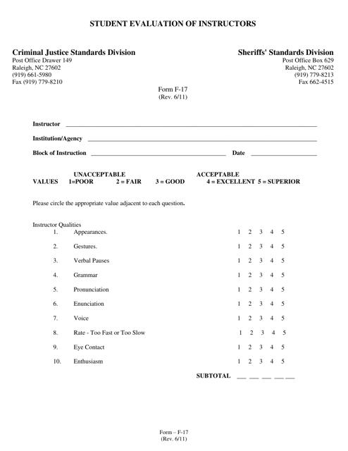 Form F-17 Printable Pdf