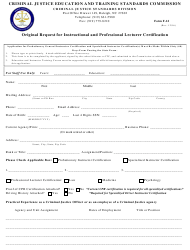 Form F-12 Original Request for Instructional and Professional Lecturer Certification - North Carolina