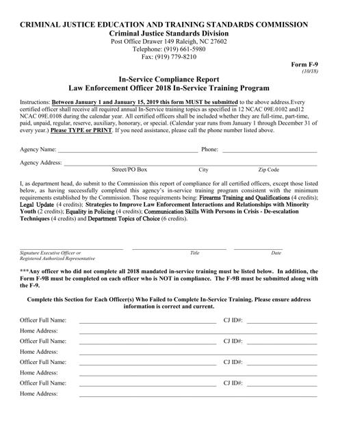 Form F-9 2018 Printable Pdf