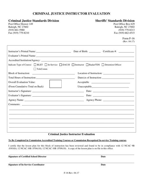 Form F-16  Printable Pdf