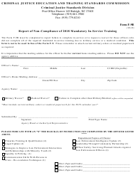 Form F-9B 2018 Report of Non-compliance (In-service Training) - North Carolina