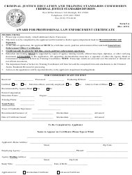 Form F-6 Professional Law Enforcement Certificate Application - North Carolina
