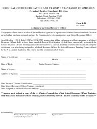 Form F-20 Assignment as School Resource Officer - North Carolina