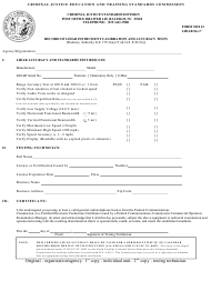 Form SMI 12 Record of Lidar Instrument Calibration and Accuracy Tests - North Carolina