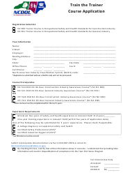 """Train the Trainer Course Application Form"" - North Carolina"