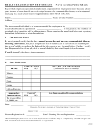 """Health Examination Certificate"" - North Carolina"