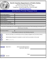 """Sole Source Provider Request Form"" - North Carolina"
