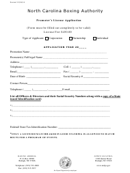 """Promoter's License Application Form"" - North Carolina"