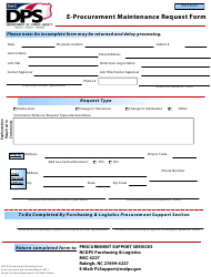 """E-Procurement Maintenance Request Form"" - North Carolina"