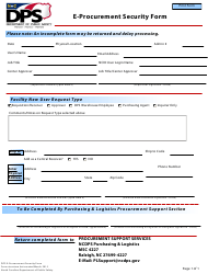 """E-Procurement Security Form"" - North Carolina"
