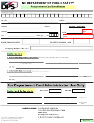 "Form FS001 ""Procurement Card Enrollment Form"" - North Carolina"