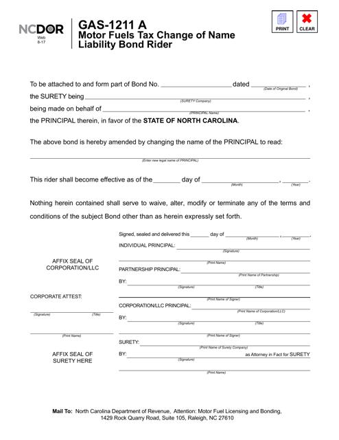 Form GAS-1211 A  Printable Pdf