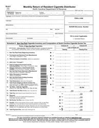 "Form B-A-5 ""Monthly Return of Resident Cigarette Distributor"" - North Carolina"
