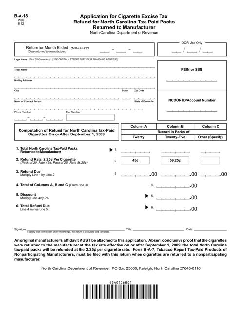 Form B-A-18  Printable Pdf