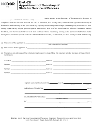 Form B-A-28 Appointment of Secretary of State for Service of Process - North Carolina