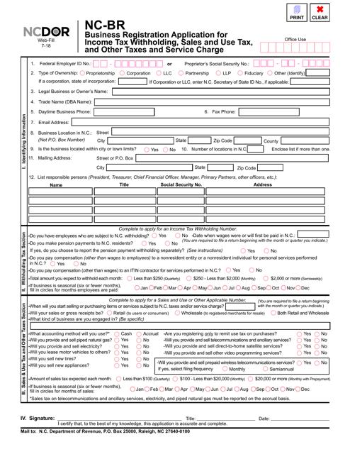 Form NC-BR Fillable Pdf