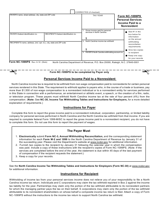1099 form nc  Form NC-9PS Download Printable PDF, Personal Services ...