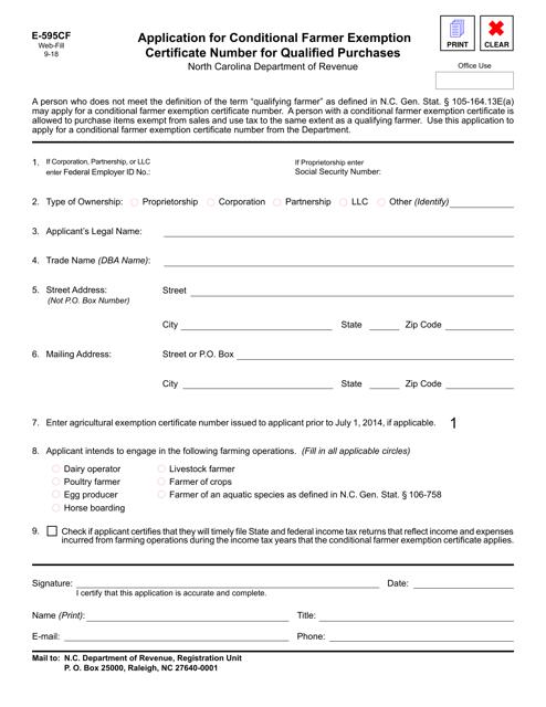 Form E-595CF  Printable Pdf